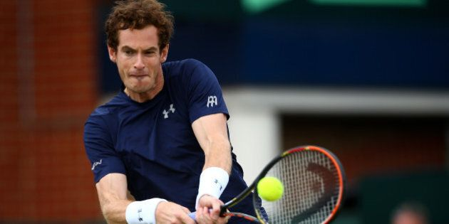 LONDON, ENGLAND - JULY 19: Andy Murray of Great Britain in action during his singles match against Gilles...