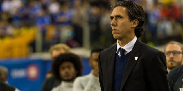 MONTREAL, QC - MARCH 12: Mauro Biello head coach of the Montreal Impact looks on prior to the MLS game...