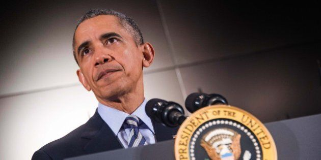 US President Barack Obama delivers remarks after a national security team meeting at the National Counterterrorism...