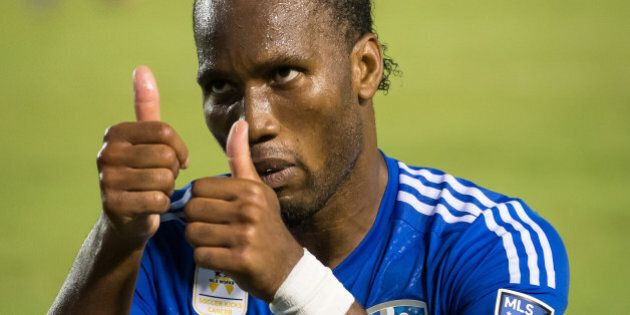 CARSON, CA - SEPTEMBER 12: Didier Drogba #11 of Montreal Impact makes faces to the crowd after missing...