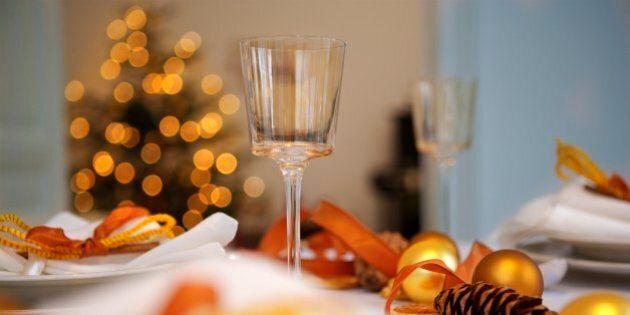 Table set at Christmastime