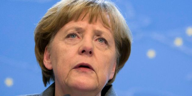 German Chancellor Angela Merkel speaks during a media conference at the end of an EU summit in Brussels...