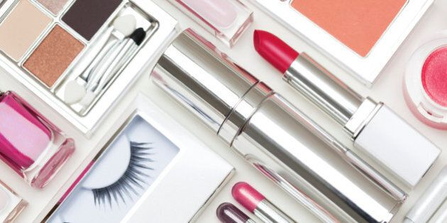 Foundation, lipstick, bronzer, false eyelashes, eye liner, powder, eye shadow, eye pencils, lip gloss and nail varnish.