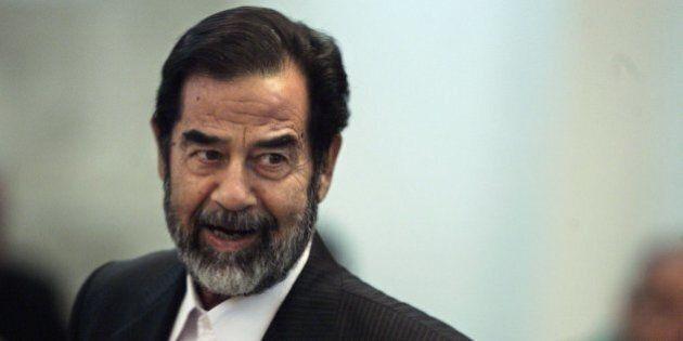 BAGHDAD, IRAQ - JUNE 12: Former Iraqi President Saddam Hussein testifies during his trial on June 12,...