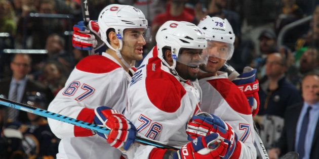 BUFFALO, NY - OCTOBER 23: Andrei Markov #79 of the Montreal Canadiens celebrates his second period goal...