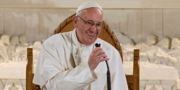 Pope Francis gestures during his speech at St. Patrick's Church in Washington, Thursday, Sept. 24, 2015,...