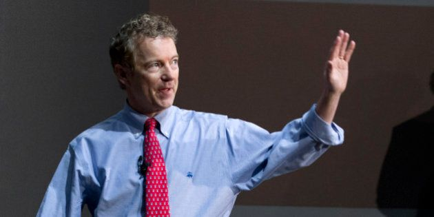 U.S. Sen. Rand Paul, R-Ky., speaks to students during a discussion on criminal justice reform at Bowie...