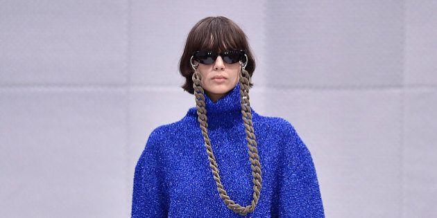 PARIS, FRANCE - MARCH 06: A model walks the runway at the Balenciaga Autumn Winter 2016 fashion show...