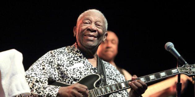 Blues music legend BB King performs on Frampton's Guitar Circus 2013 Tour at Pier Six Pavilion on Thursday,...