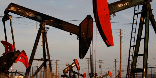 MCKITTRICK, CA - MARCH 23: Pump jacks and wells are seen in an oil field on the Monterey Shale formation...