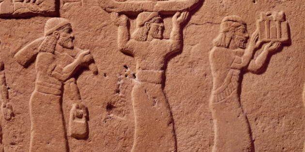 IRAQ - CIRCA 858: Oriental art. Detail of pedestal of Salmanasar III's throne (858-823 BC) of Nimroud...