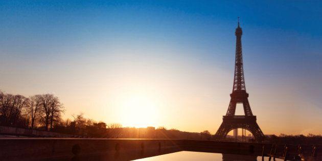 sunrise view from Trocadero in Paris,