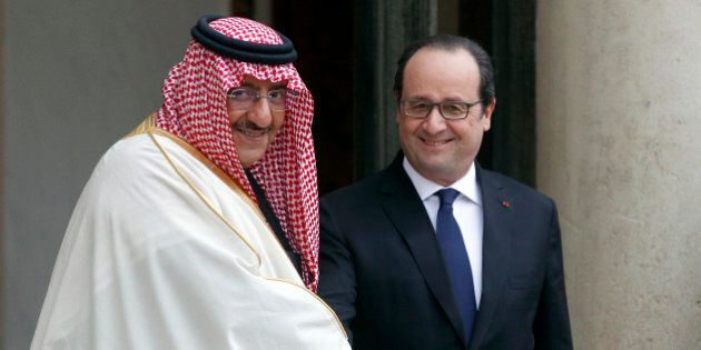 PARIS, FRANCE - MARCH 04: French President Francois Hollande (R) accompanies Saudi Crown Prince Mohammed...