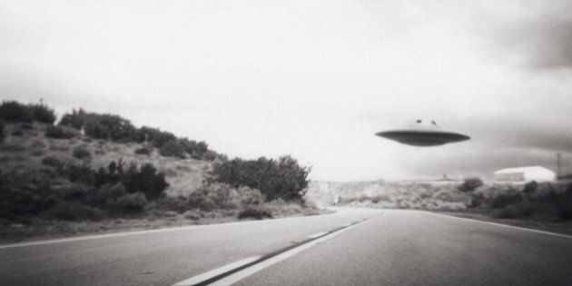 Flying saucer above