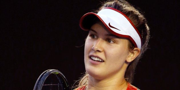 Eugenie Bouchard of Canada reacts to a lost point during her second round match against Agnieszka Radwanska...