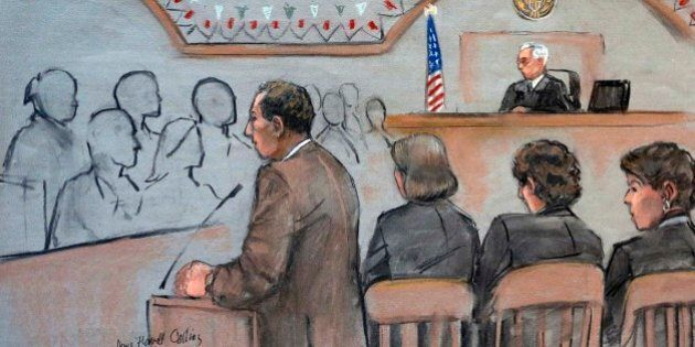 It this courtroom sketch, U.S. Attorney William Weinreb, left, is depicted delivering opening statements...