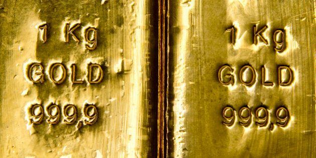Muenchen, Germany - February 16: 1 Kilogramm Gold bars in the safe of Pro Aurum Gold trading house on...