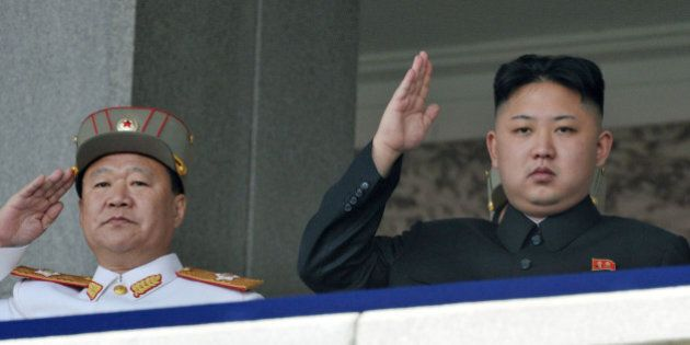 In this photo taken on April 15, 2012, North Korean leader Kim Jong Un, right, and Vice Marshal Choe...