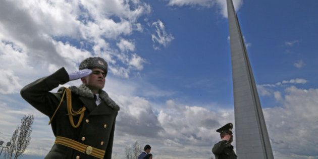 YEREVAN, ARMENIA - MARCH 31: A guard salutes at the Armenian Genocide Memorial complex at Tsitsenakaberd...
