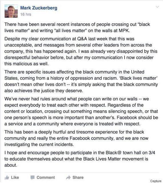 Mark Zuckerberg rappelle à l'ordre les employés de Facebook qui rayent le slogan «Black Lives