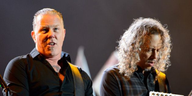 James Hetfield, left and Kirk Hammett, right from U.S band Metallica performs at Glastonbury music festival,...
