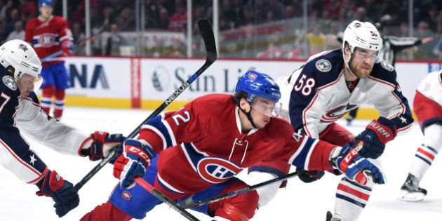 MONTREAL, QC - DECEMBER 1: Sven Andrighetto #42 of the Montreal Canadiens skates for position against...