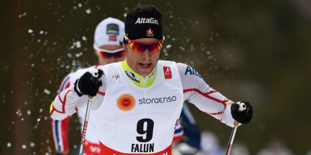 FALUN, SWEDEN - FEBRUARY 21: Alex Harvey of Canada competes during the Men's 30km Cross-Country Skiathlon...