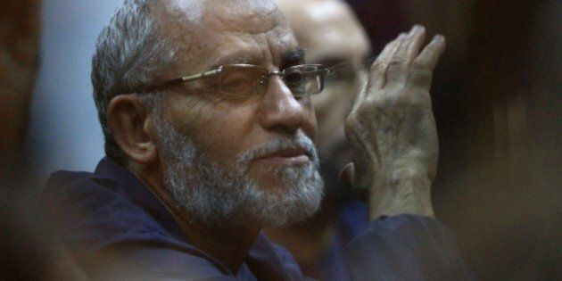 CAIRO, EGYPT - AUGUST 18 : Muslim Brotherhood Supreme Guide Mohamed Badie is seen during a trial at Cairo...