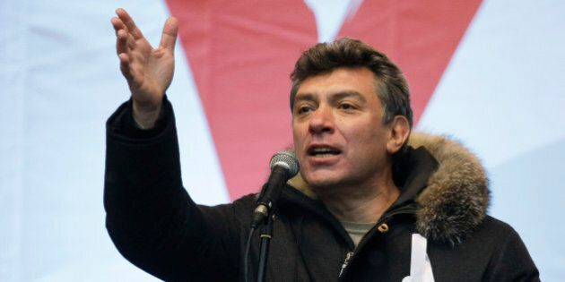 Former Russian Deputy Prime Minister, a leader of opposition Boris Nemtsov speaks during a protest against...