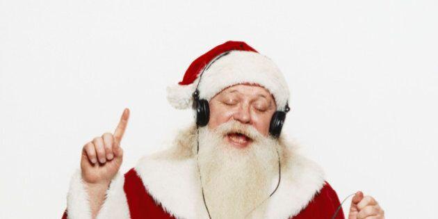 Santa Claus Listening to Music