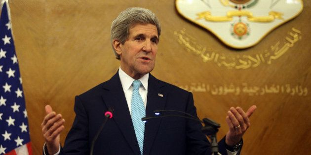 AMMAN, JORDAN - NOVEMBER 13: US Secretary of State John Kerry speaks during a press conference with Jordanian...