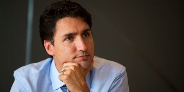 TORONTO, ON - OCTOBER 9: Liberal leader Justin Trudeau meets with the editorial board at the Toronto...