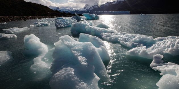 SANTA CRUZ PROVINCE, ARGENTINA - NOVEMBER 27: Ice broken off from Perito Moreno glacier floats in Los...