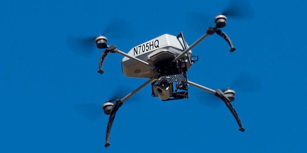 FILE - In this Aug. 14, 2015 file photo, a drone operated by the Alameda County Sheriff's Office flies...