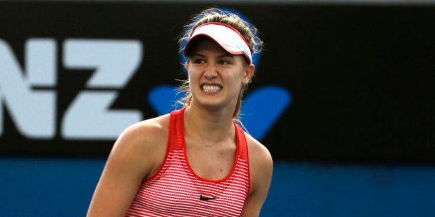 Eugenie Bouchard of Canada celebrates winning a point against Aleksandra Krunic of Serbia during their...