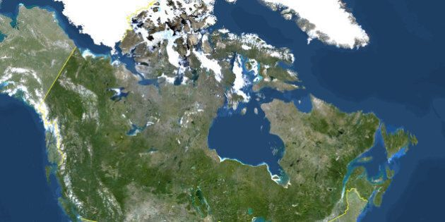 Satellite view of Canada (with border and mask). This image was compiled from data acquired by LANDSAT 5 & 7 satellites., Canada, North America, True Colour Satellite Image With Border And Mask (Photo by Planet Observer/Universal Images Group via Getty Images)