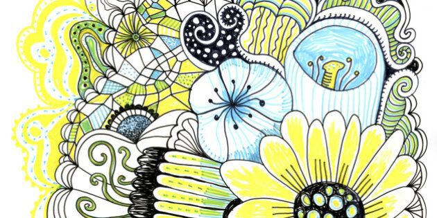Image of the hand drawn flowers and abstract