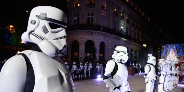PARIS, FRANCE - NOVEMBER 04: Performers dressed as Stormtroopers poses during the launch of Galeries...