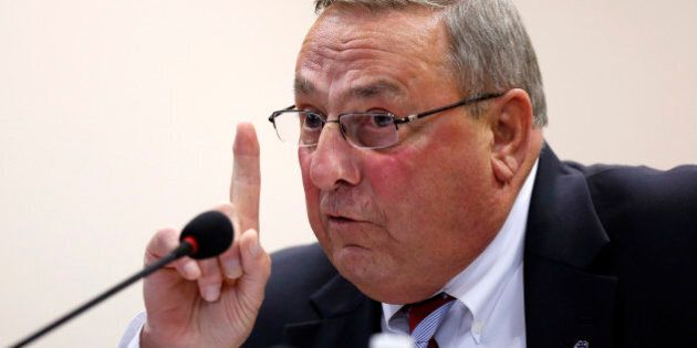 Gov. Paul LePage speaks at a town hall meeting Wednesday, Oct. 21, 2015, in Auburn, Maine. The Republican...