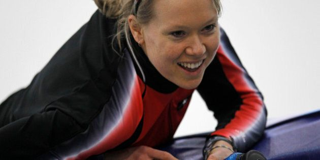 Canada's Cindy Klassen reacts after a training at the Richmond Olympic Oval at the Vancouver 2010 Olympics in Vancouver, British Columbia, Wednesday, Feb. 10, 2010. (AP Photo/Kevin Frayer)