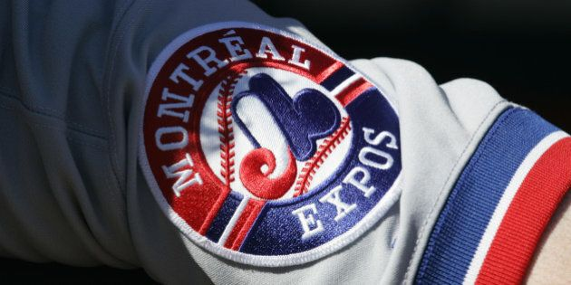 FLUSHING, NY -OCTOBER 3: A detail view of a Montreal Expos patch showing their logo during the game between...