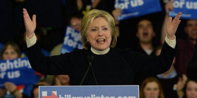 HOOKSETT, NH - FEBRUARY 09: Democratic presidential candidate, former Secretary of State Hillary Clinton...
