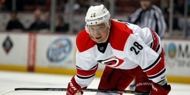 Carolina Hurricanes right wing Alexander Semin (28), of Russia waits for play to continue during the...