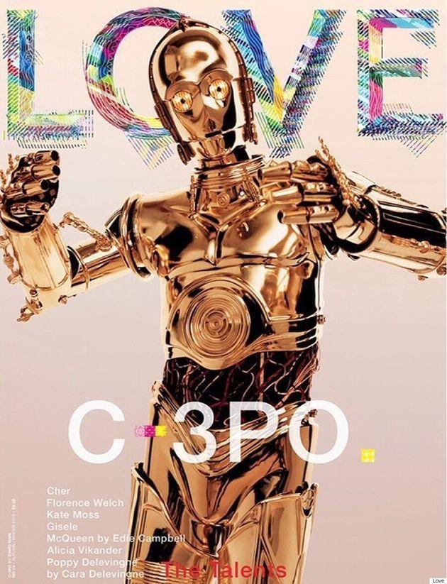 C-3PO est en vedette sur la Une de l'édition automne-hiver 2015 du magazine Love