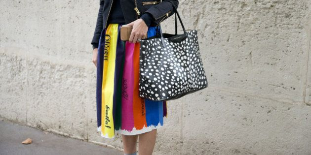 PARIS, FRANCE - OCTOBER 4: Fashion Buyer for Liberty Rhian Grimstead wears a Mira Mikati skirt, Givency...