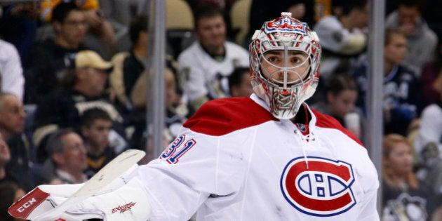 Montreal Canadiens goalie Carey Price (31) plays during an NHL hockey game against the Pittsburgh Penguins...