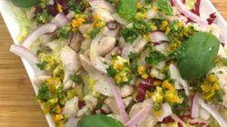 Vite fait, bien fait: méli-mélo de salade et dorade, sauce