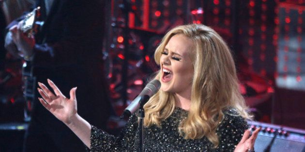 HOLLYWOOD, CA - FEBRUARY 24: Singer Adele performs onstage during the Oscars held at the Dolby Theatre...
