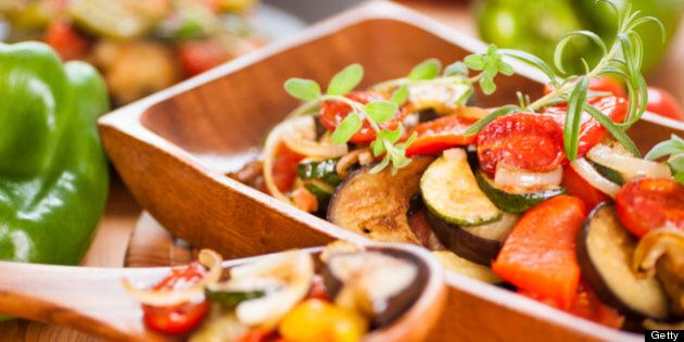 Close-up of Ratatouille in wooden bowl selective