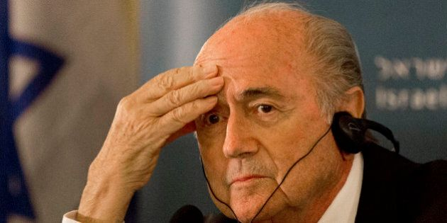 FILE - In this May 19, 2015 file photo FIFA President Sepp Blatter attends a press conference in Jerusalem....